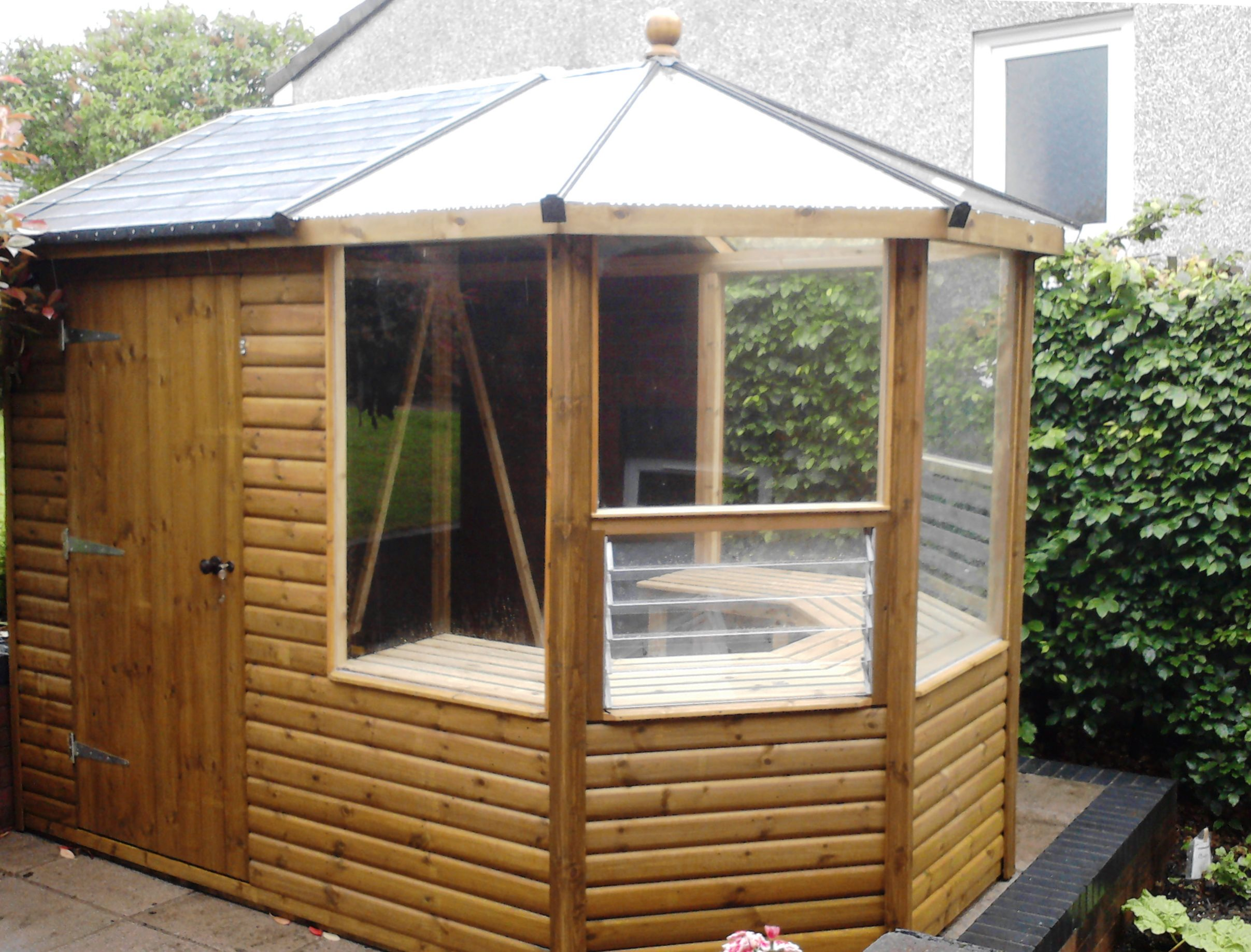 Greenhouse shed combo cedar garden sheds and greenhouses for Garden shed 2 x 2